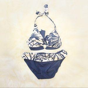 Ralph Lauren Bikini Two Piece Floral Navy Halter